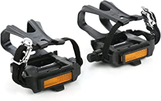 zonkie Bike Pedals with Toe Clip and Strap, Plastic Bike Pedals for MTB and Road Bike, 9/16 Inch