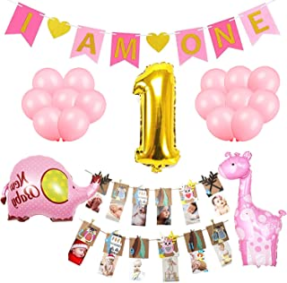 Girl First Birthday Decorations Set-I AM ONE Pink banner,Number 1 Gold foil balloon, Elephant and Giraffe mylar balloon,Woodland Photo Prop for Growth Record-Supplies and Favors for 1st Bday Decor