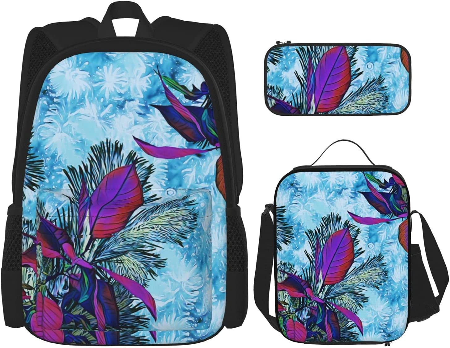 Sales Backpack Bags Purple Flowers Blue Max 44% OFF Bag Background Lunch with