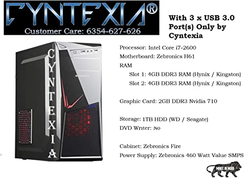 Cyntexia Gaming Computer Desktop Pc Intel Core i7-2600 / 8GB DDR3 RAM / 1TB HDD / 2GB DDR3 Nvidia 710 Graphic Card/Operating System and Basic Software Installed/Plug and Start product image