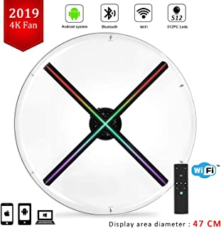 FOOING 3D Hologram Fan,Upgrade Four-Axil Design Hologram Projector,Android Smart Operating System,Holographic Advertising Fan Upload by APP/TF Card/Cloud Serve,Support iOS Android Windows