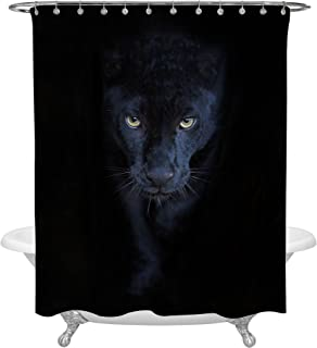 MitoVilla Black Panther Shower Curtain Set with Hooks for Wildlife Themed Bathroom Decorations, Cool and Masculine Bathroom Accessories for Mens and Boys Room, Black, 72