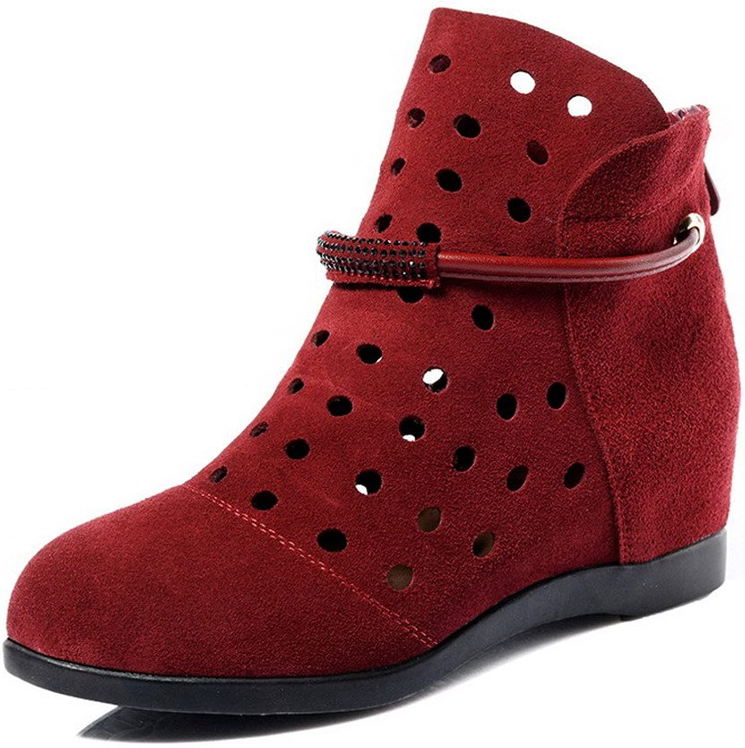 AmoonyFashion Women's Round-Toe Closed-Toe Low-Heels Boots with Hollow Out and Back Zipper