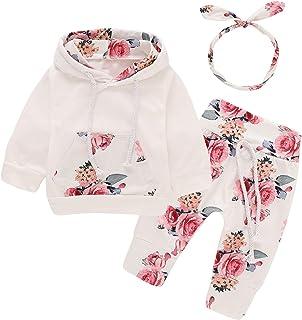 Bebé recién Nacido de Manga Larga con Capucha Floral Sudadera Tops + Pantalones Ropa Trajes
