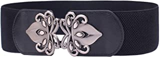 T Shop Women's Black Strechable Wide Waist Belt Clasp Buckle Elastic Band Clip-on Cinch Trimmer One Size Fits All Fashion ...