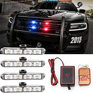 Clidr 4x4/led LED DRL Ambulance Police Light 12V Strobe Warning Light 4 in 1 Wireless Remote Car Truck Light Flashing Firemen Lights (red)
