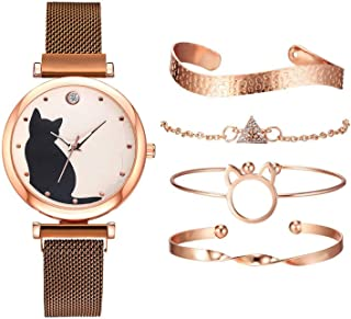 gazechimp 5 Unidades/Conjunto de Relógios Femininos Pulseira de Ouro Rosa Conjunto de Relógios de Pulso com Padrão de Gato...