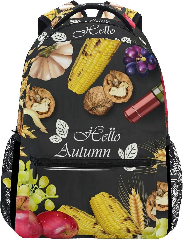 Cartoon Backpack Backpack School Bag Laptop Travel Bags for Kids Boys Girls Women Men Cute Pumpkin Halloween Thanksgiving Day Autumn Fall