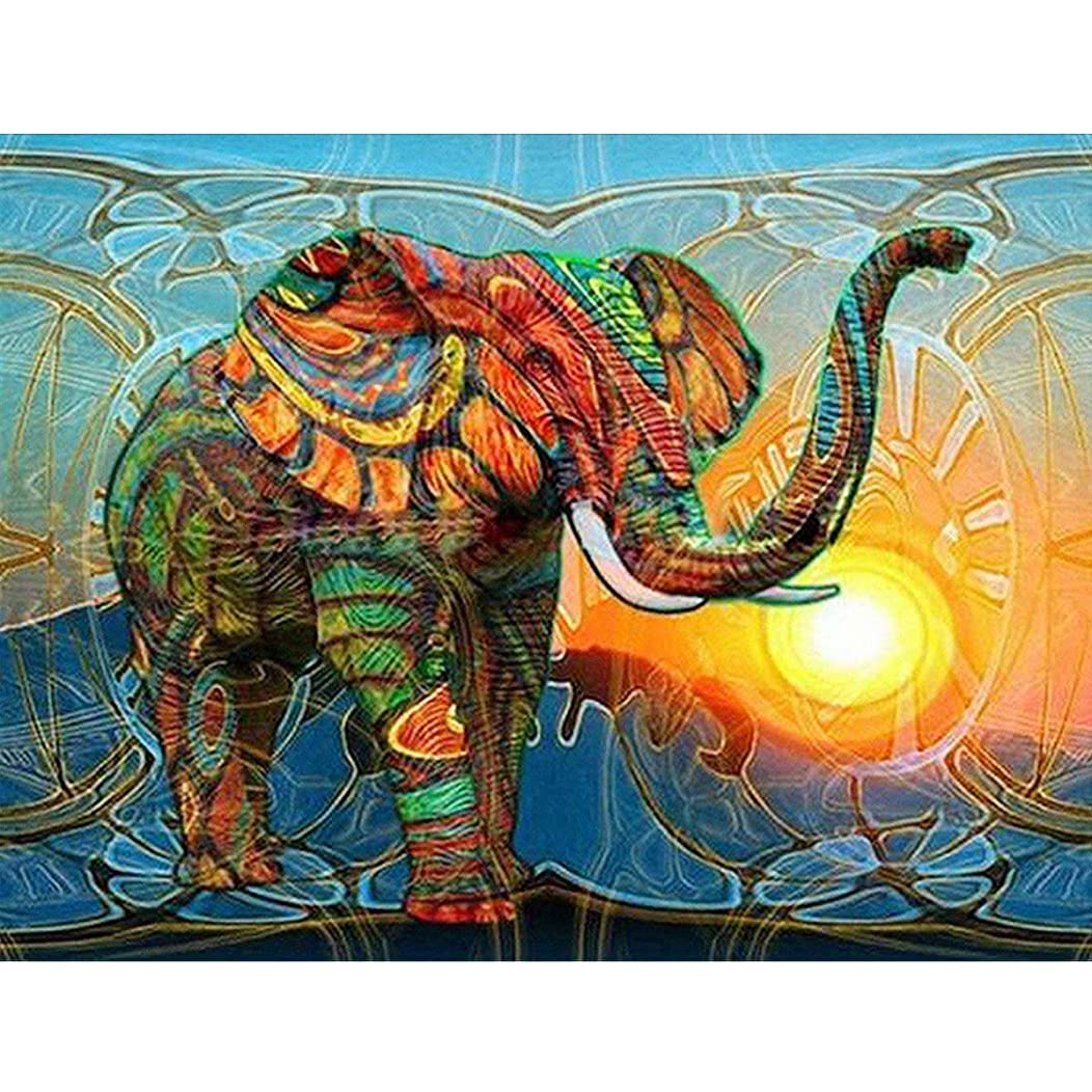 CC-Show 5D DIY Full Drill Diamond Painting Kits for Adults, (15.8 X11.8 in) Animal Paint by Number Beads Embroidery Kit for Kids, Home Wall Decors (Colorful Elephants)