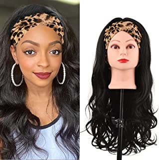 Headband Wig, Anself Glueless 23.6 Inches Wigs for Black Women Human Hair Synthetic Long Curly Hair with Hair Band Can be ...