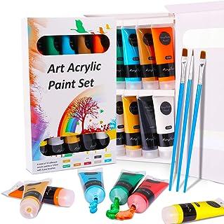 Akryl färguppsättning WOSTOO hantverksfärger (13-pack) målning färg rör 10 x 120 ml och 3 målarborstar för papper, duk, tr...