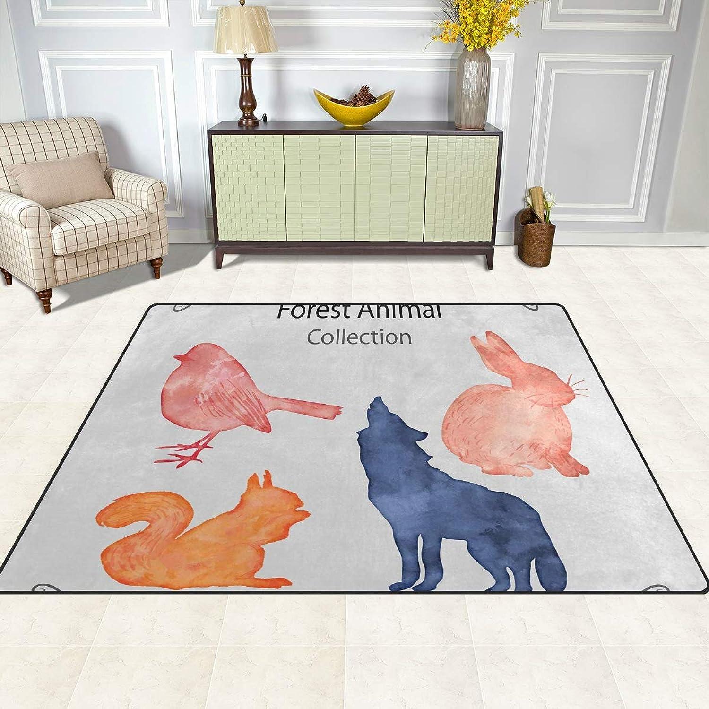 FAJRO Watercolor Forest Animal Rugs for entryway Doormat Area Rug Multipattern Door Mat shoes Scraper Home Dec Anti-Slip Indoor Outdoor
