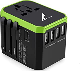 LE TILLAY Universal Travel Adaptor 5.6A (MAX) - High Speed 2.4A -4 USB and 1 Type-C for AU US EU UK - International Power ...