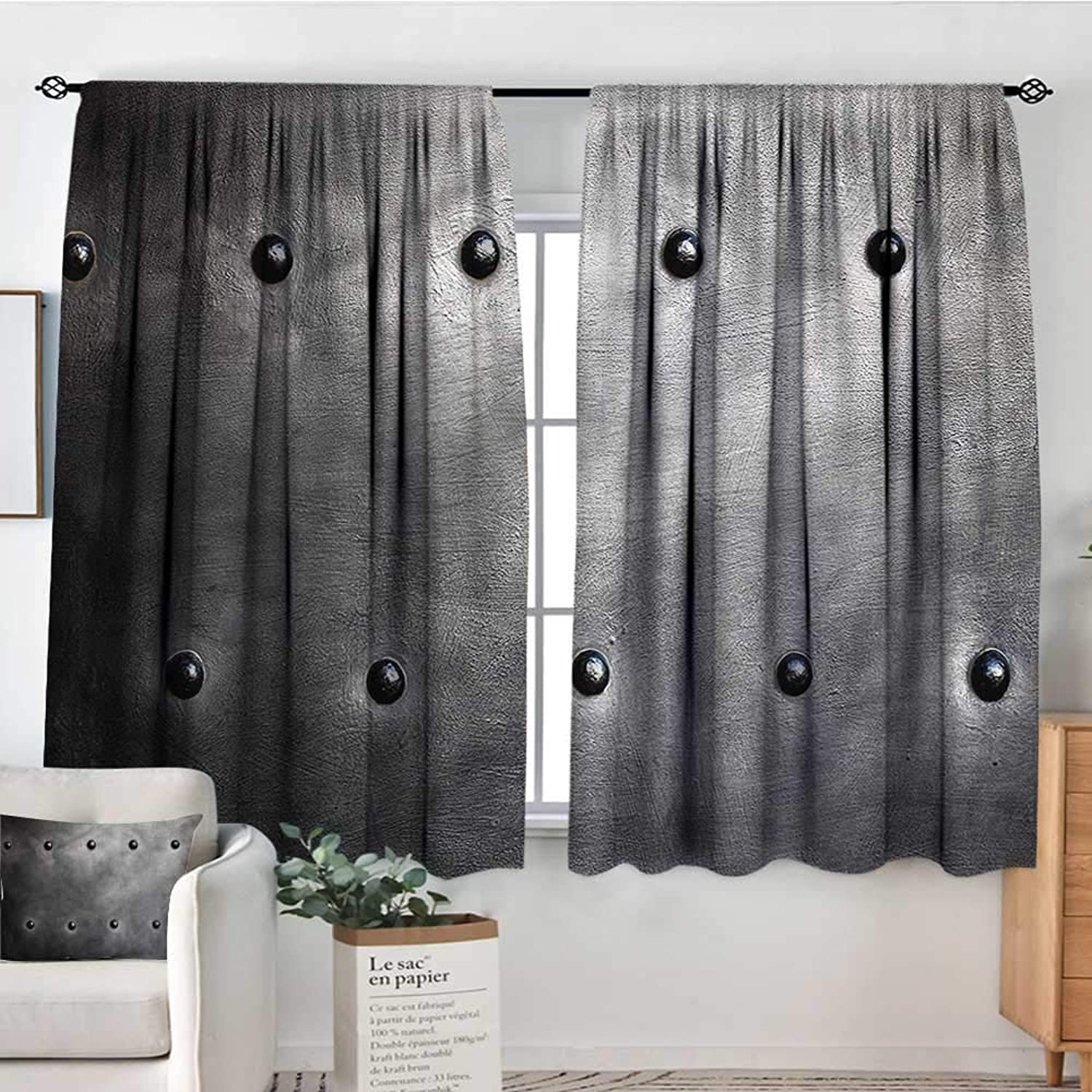 Industrial,Decor Curtains Black Grunge Plate 52 x63  Drapes for Baby Iving Room