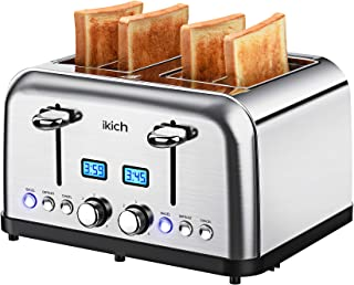 4 Slice Toaster, IKICH Prime Rated Toaster Stainless Steel [Digital Countdown] Toasters(6 Bread Shade Settings, Bagel/Defr...