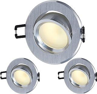 Spot LED encastrable ultra plat avec module GU10 I 230 V 3 W I Orientable I Angle d'éclairage 120° I Aluminium brossé I Tr...