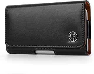 Universal Premium Smooth PU Leather Horizontal Pouch Case Cover Holster with Magnetic Closure and Belt Clip Loop for Samsung Galaxy S9 Plus All Version and Carrier (Black)