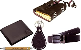 LEADERACHI Men's Full Grain Leather RFID Blocking Bi Fold Wallet and Leather Journal Diary with Designer Leather Key Ring ...