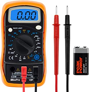 WeePro Multimeter Voltage Tester Digital Amp Meter – DC AC Voltmeter Electric..