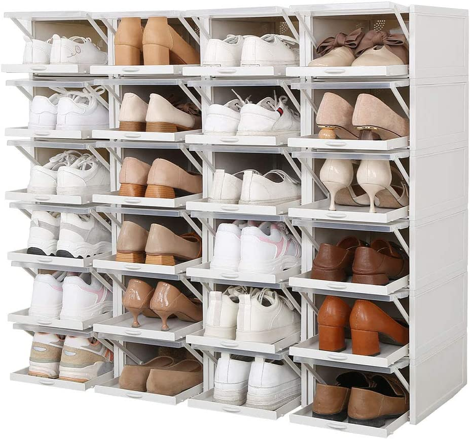 Ohyoulive 20 Pack/Set Stackable Storage Shoe Box Clear Plastic ...