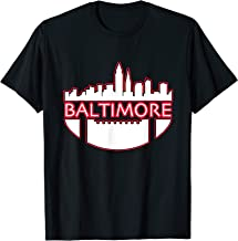 Vintage Downtown Baltimore Maryland Skyline Football Gifts T-Shirt