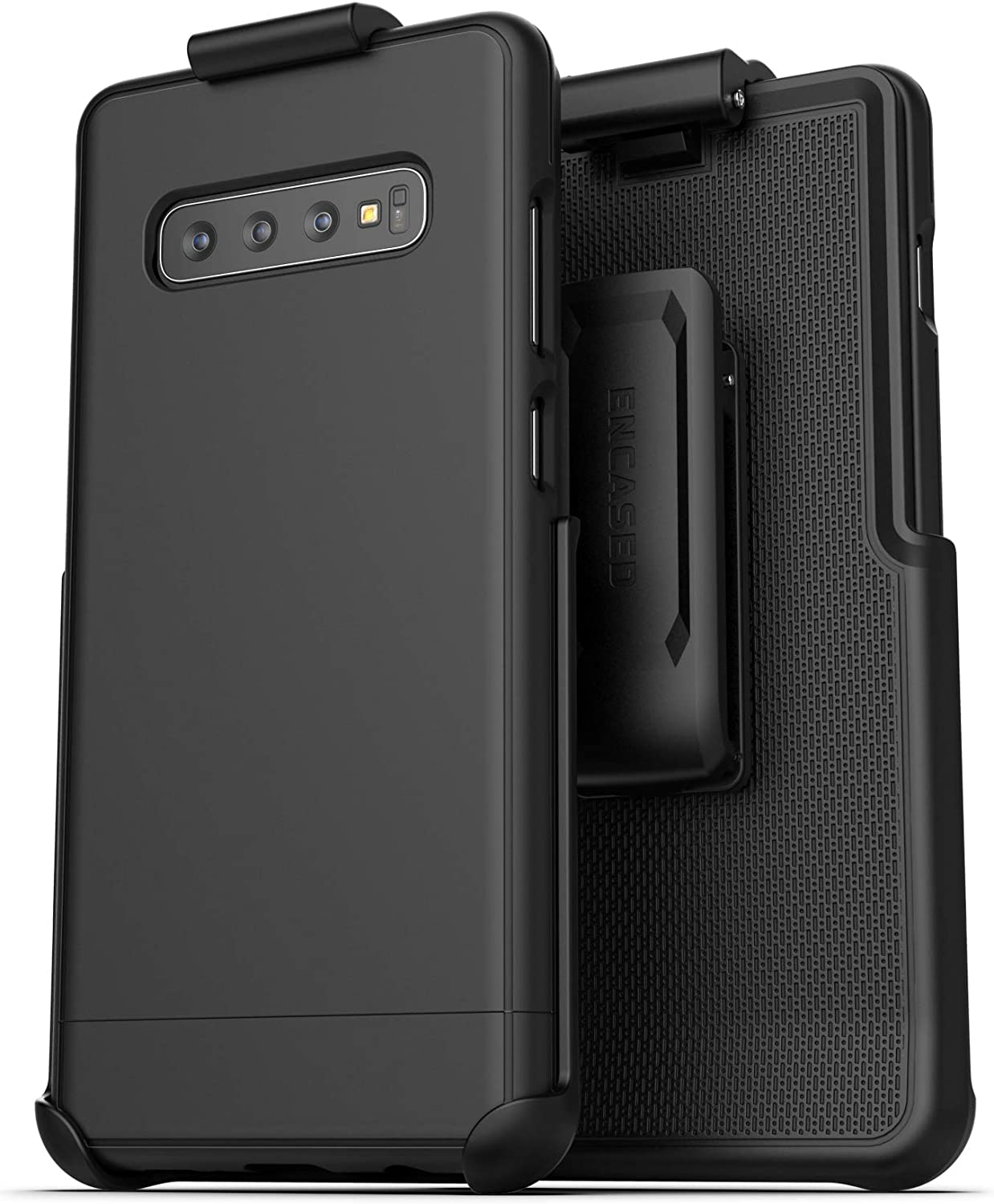 Encased Galaxy S10 Plus Belt Clip Holster Case (2019 Slimshield) Ultra Slim Protective Grip Cover with Holder for Samsung Galaxy S10+ - Black