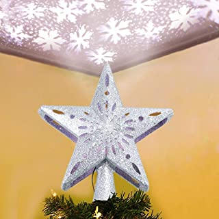 OurWarm Hollow Silver Star Christmas Tree Topper, 3D Glitter Lighted Star Tree Toppers with Rotating LED Snowflake Projector Lights for Christmas Tree Decoration Xmas Home Decor, 9.8Inch