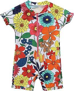 ATTRACO Baby Boys Girls' Short Sleeve Rash Guard Swimsuit Sunsuit 1 Piece UPF 50