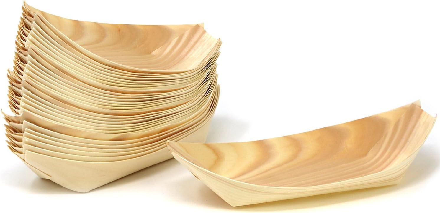 COM-FOUR® 32x boles de madera, cuencos para aperitivos, salsas, entrantes y postres, juego divertido gueule, 17 x 9 cm (32 piezas - tazón de aperitivo)