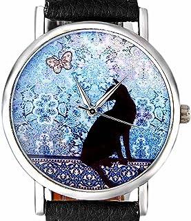 Cat Pattern Leather Band Ninasill Quartz Watch Analog Watch