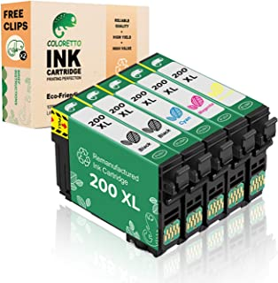 Coloretto Remanufactured Ink Cartridge Replacement for Epson 200 T200XL use for WF-2540 WF-2530 WF-2520 Expression Home XP-410 XP-400 XP-200 Printer (2Black 1Cyan 1 Magenta 1Yellow) 5 Pack