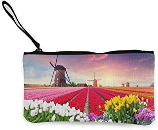 Cinlanck The Spring Scenery of Tulip Farm Cute Looking Coin Purse Small and Exquisite Going Out to Carry Purse