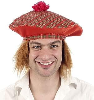 Mens Tartan Hat with Ginger Hair Women Scottish Burn Night Fancy Dress Accessory One Size