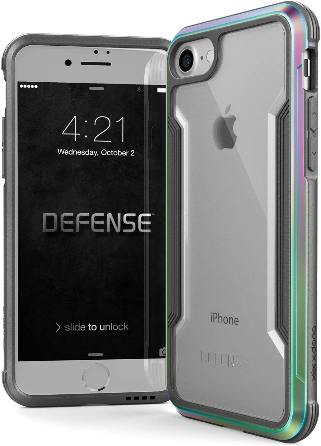 Raptic Shield, SE/8/7 Case (Formerly Defense Shield) - Military Grade Drop Tested, Anodized Aluminum, TPU, and Polycarbonate Protective Case for Apple SE/8/7, Iridescent