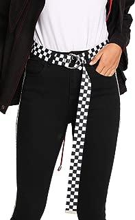 Jollymoda D-Ring Buckle Checkered Belt For Women/Men Long Canvas Web Belts
