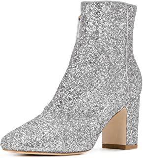 2782403ad19e FSJ Women Round Toe Chunky High Heels Glitter Ankle Boots with Side Zipper  Shoes Size 4