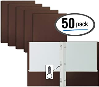Brown Paper 2 Pocket Folders with Prongs, 50 Pack, by Better Office Products, Matte Texture, Letter Size Paper Folders, 50 Pack, with 3 Metal Prong Fastener Clips, Brown