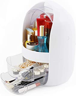 Multifunction Makeup Organizer in Pearl White for Women - Water and Dusty Proof in Swan Egg Shape with Transparent Cover and 2 Crystal Drawers - Large Size Storage for Jewelries and Cosmetics