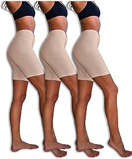 Slip Shorts | 3-Pack Bike Shorts | Cotton Spandex Stretch Boyshorts for Yoga/Workouts