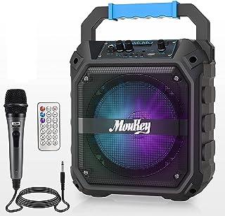 Moukey スピーカーセット PAセット Bluetooth 5.0対応 充電式 拡声器 携帯用 FMラジオ リモコン TFカード/USBに対応 6.5インチ パーティー カラオケ 街頭スピーチ 会議 学校行事 室外 防災に最適 MPS2