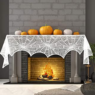 MACTING 18 x 96 inch Cobweb Fireplace Scarf Mysterious Lace Spiderweb Mantle Lace Runner Fireplace Scarf Festive Supplies for Halloween Party Door Window Decoration White