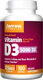 Jarrow Formulas Vitamin D3, Supports Calcium and Bone Metabolism, Immune Function, 5000IU, 100 Count (Pack of 2)