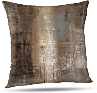 ONELZ Brown and Grey Abstract Art Decorative Throw Pillowcase Two Sides Printed, Fashion Style Zippered Cushion Pillow Cover (18 x 18 inch)