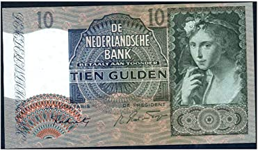 1942 NL EXQUISITE 1941-42 NETHERLANDS BANKNOTE w 16TH CENT PORTRAIT of YOUNG GIRL 10 Gulden Extrremely Fine Range