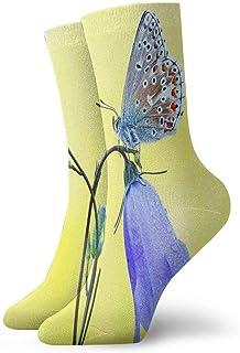 BEDKKJY, Calcetines Deportivos Flores de Color Azul Claro en Cute Butterfly Designer Mens Short Boot Stocking Party Calcetín Liquidación para niños