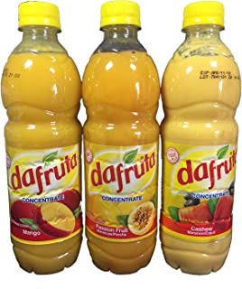 Dafruta Variety 3 Pack - Passion Fruit, Mango, and Cashew Juice Concentrate - 16.9 FL.Oz