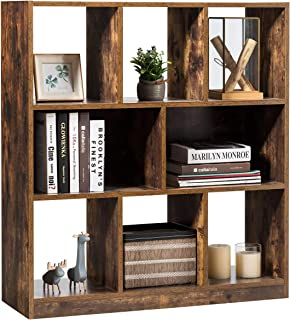 Tangkula Industrial Wooden Bookcase, Freestanding Bookshelf with Open Shelves, Display Cabinet Shelf & Storage Bookcase fo...
