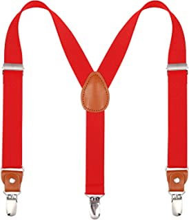 Toddlers Kids Boys Mens Suspenders - Y Back Adjustable Strong Clips Synthetic Leather Suspenders
