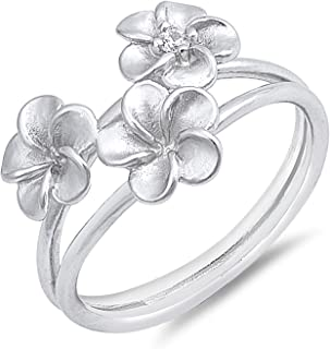 Three Solid Plumeria Sterling Silver Womens Ring Sizes 5-12