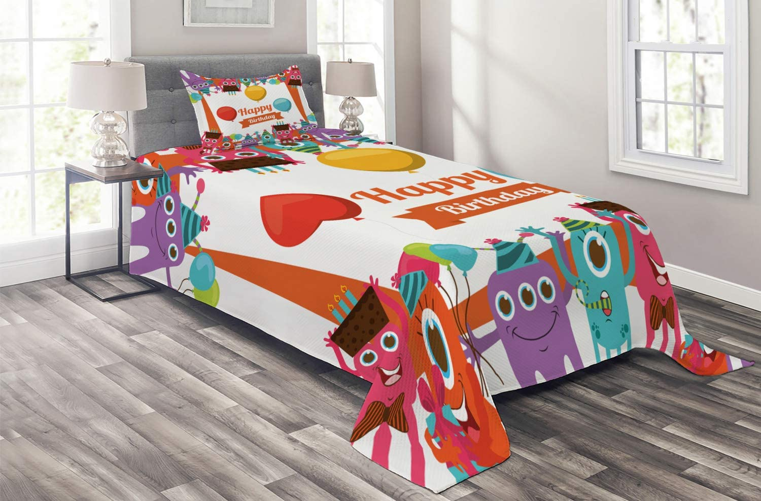 Courier shipping free shipping Ambesonne Birthday At the price of surprise Coverlet Funny Monsters Happy Chocol Holding